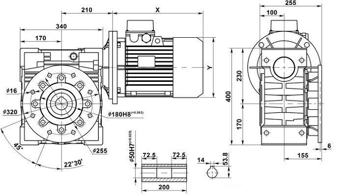 Изображение мотор-редуктора NMRV 150 с фланцем на выходе