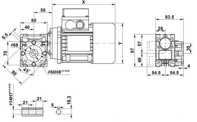 Изображение мотор-редуктора NMRV 030 с фланцем на выходе