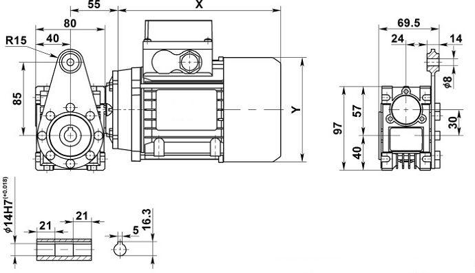 Изображение мотор-редуктора NMRV 030 с реактивной штангой