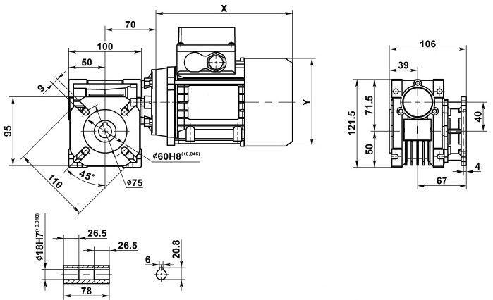 Изображение мотор-редуктора NMRV 040 с фланцем на выходе