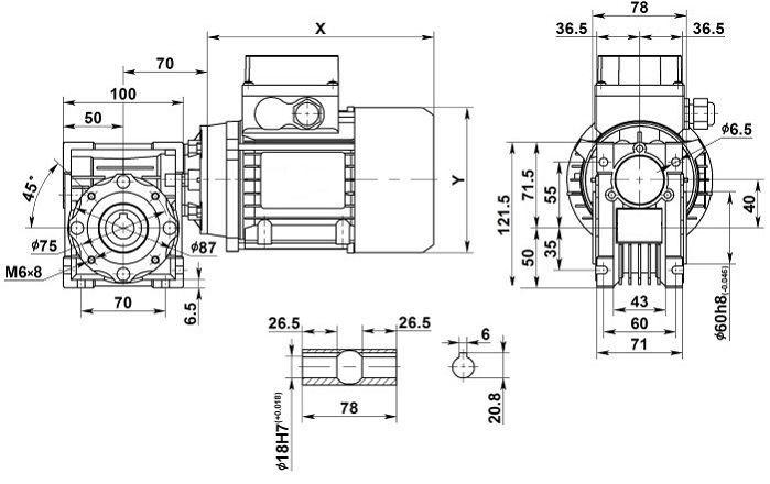 Изображение мотор-редуктора NMRV 040 с полым валом на выходе