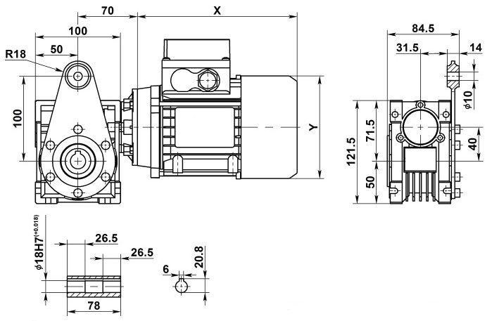 Изображение мотор-редуктора NMRV 040 с реактивной штангой