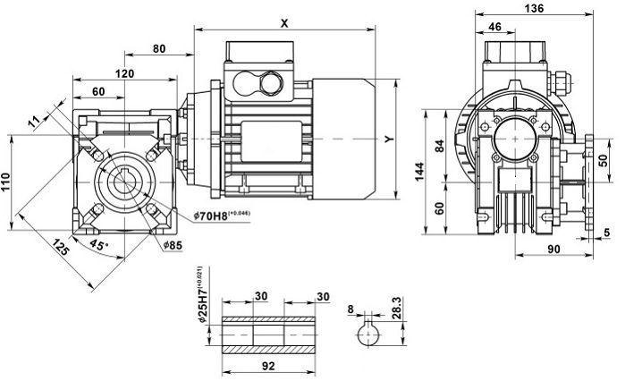 Изображение мотор-редуктора NMRV 050 с фланцем на выходе
