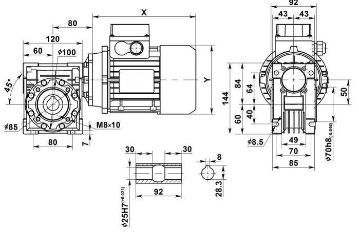 Изображение мотор-редуктора NMRV 050 с полым валом на выходе