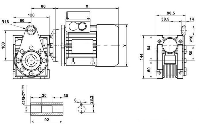 Изображение мотор-редуктора NMRV 050 с реактивной штангой