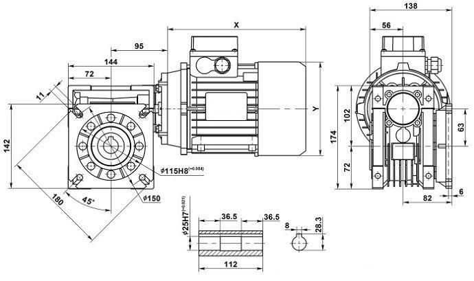 Изображение мотор-редуктора NMRV 063 с фланцем на выходе