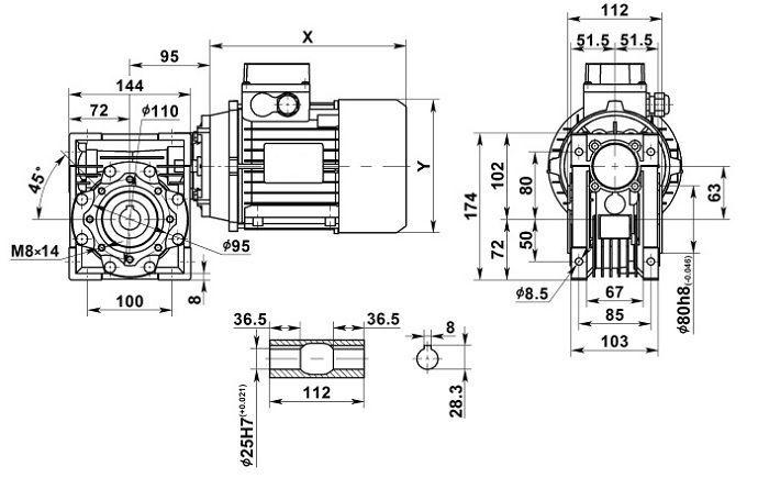 Изображение мотор-редуктора NMRV 063 с полым валом на выходе