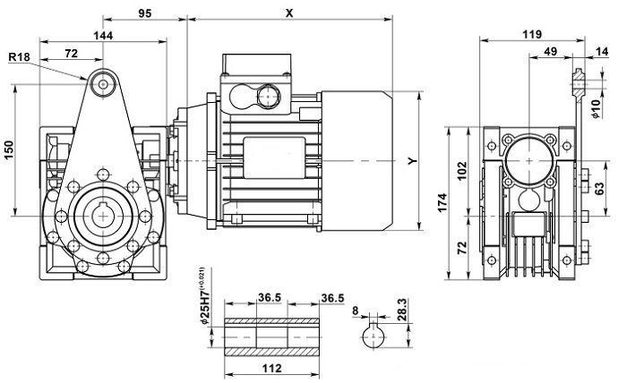 Изображение мотор-редуктора NMRV 063 с реактивной штангой