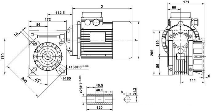 Изображение мотор-редуктора NMRV 075 с фланцем на выходе