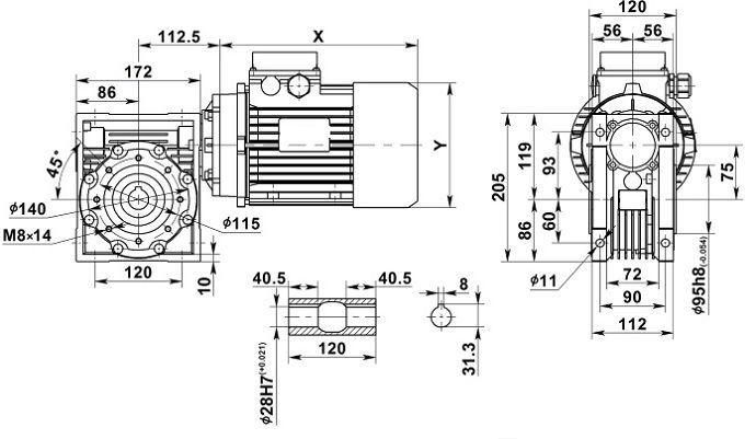 Изображение мотор-редуктора NMRV 075 с полым валом на выходе