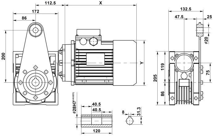 Изображение мотор-редуктора NMRV 075 с реактивной штангой