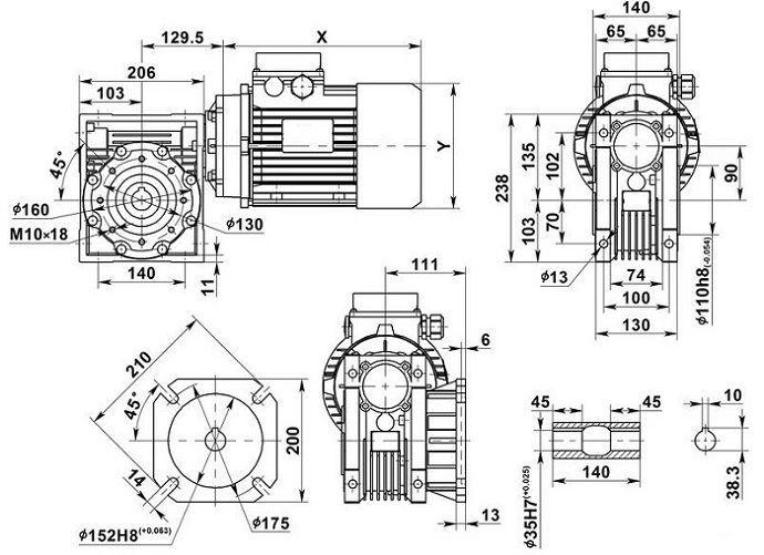 Изображение мотор-редуктора NMRV 90 с фланцем на выходе