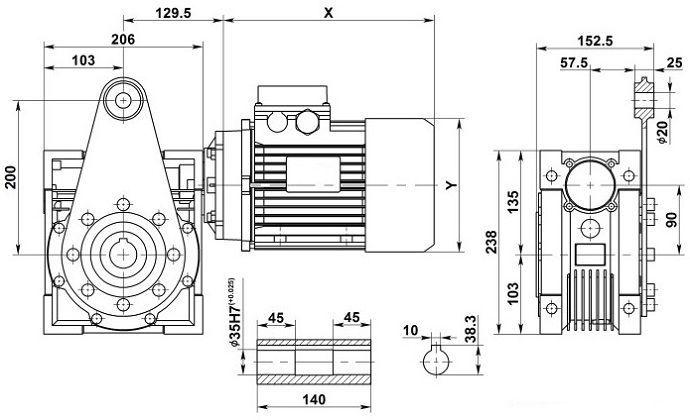 Изображение мотор-редуктора NMRV 90 с реактивной штангой