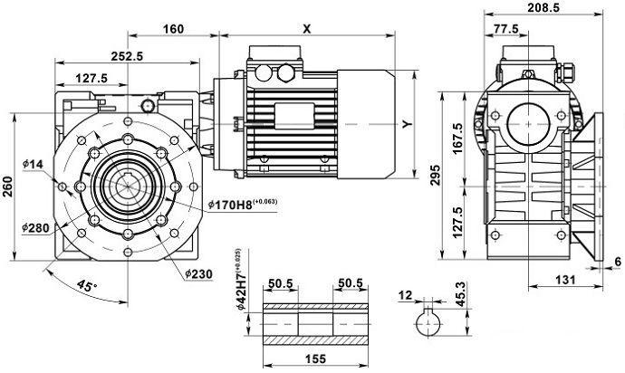 Изображение мотор-редуктора NMRV 110 с фланцем на выходе