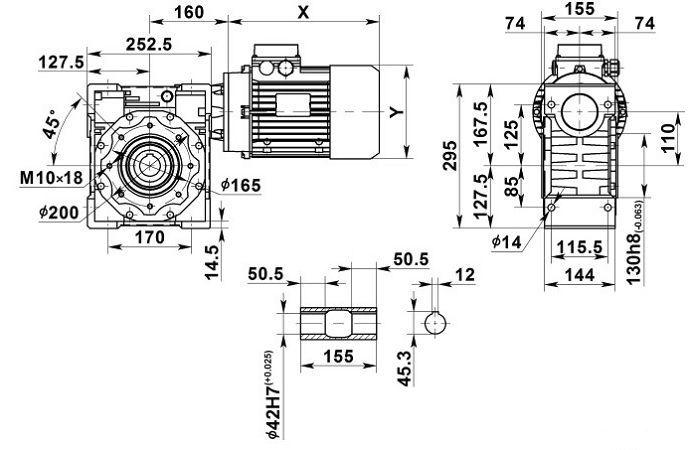 Изображение мотор-редуктора NMRV 110 с полым валом на выходе