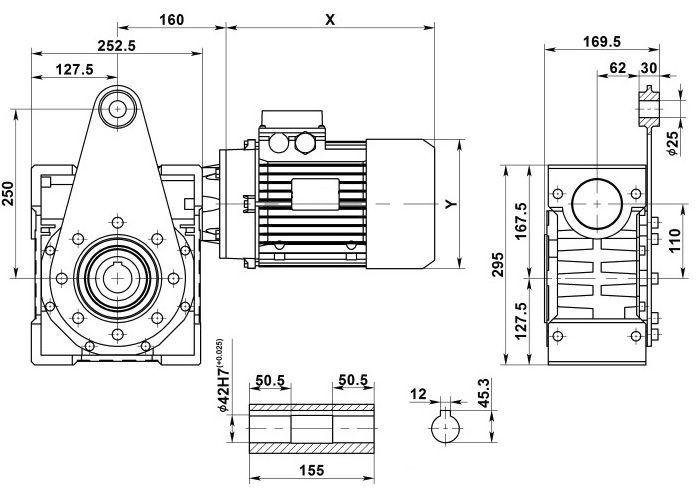 Изображение мотор-редуктора NMRV 110 с реактивной штангой