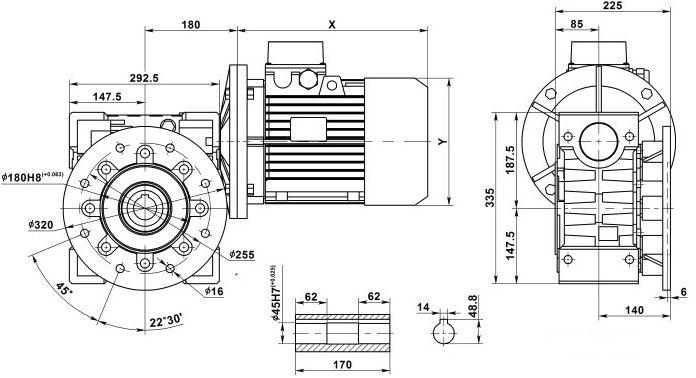 Изображение мотор-редуктора NMRV 130 с фланцем на выходе