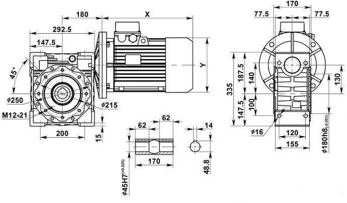 Изображение мотор-редуктора NMRV 130 с полым валом на выходе