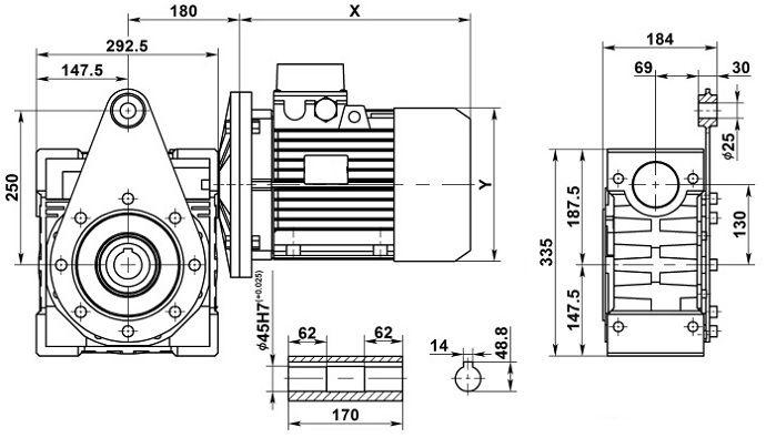 Изображение мотор-редуктора NMRV 130 с реактивной штангой