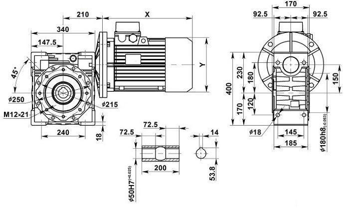 Изображение мотор-редуктора NMRV 150 с полым валом на выходе