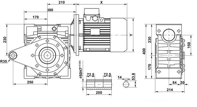 Изображение мотор-редуктора NMRV 150 с реактивной штангой