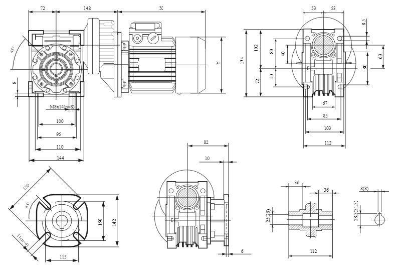Изображение мотор-редуктора PCRV 063-063