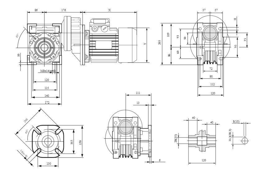 Изображение мотор-редуктора PCRV 071-075
