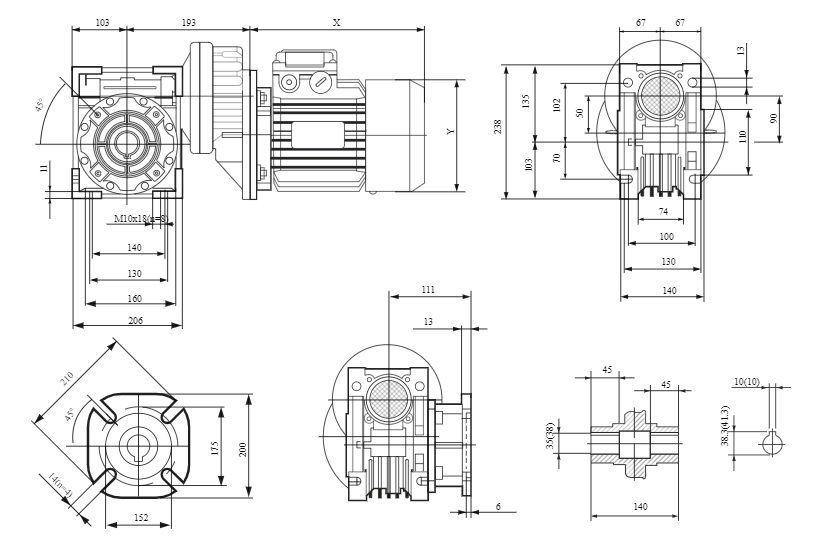 Изображение мотор-редуктора PCRV 071-090