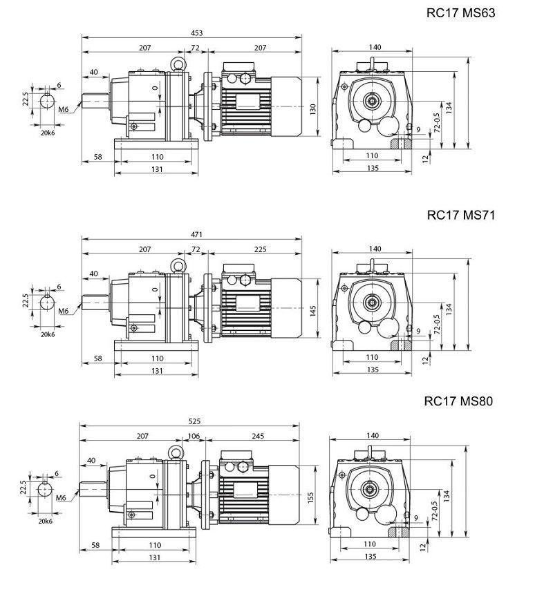 Изображение мотор-редуктора RC17 на лапах