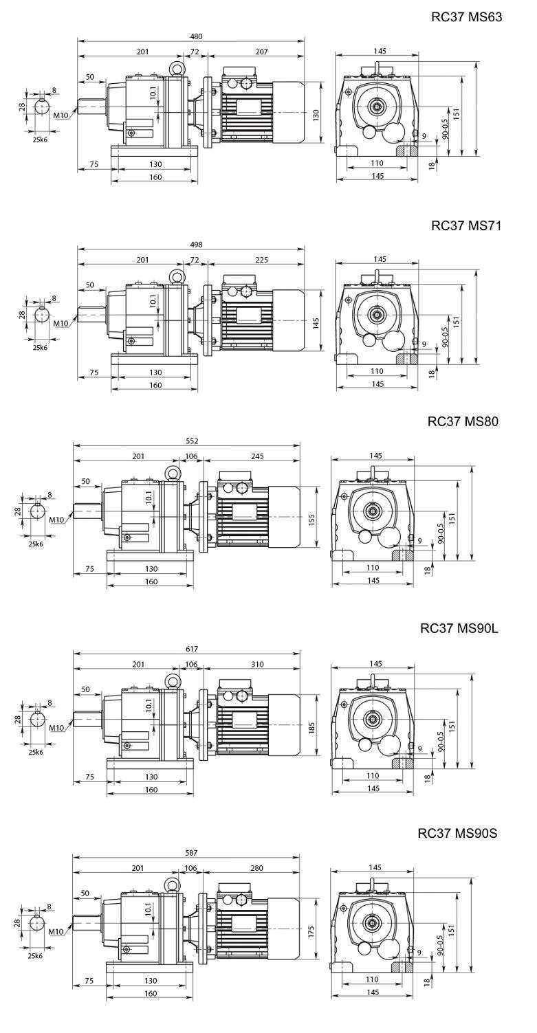 Изображение мотор-редуктора RC37 на лапах
