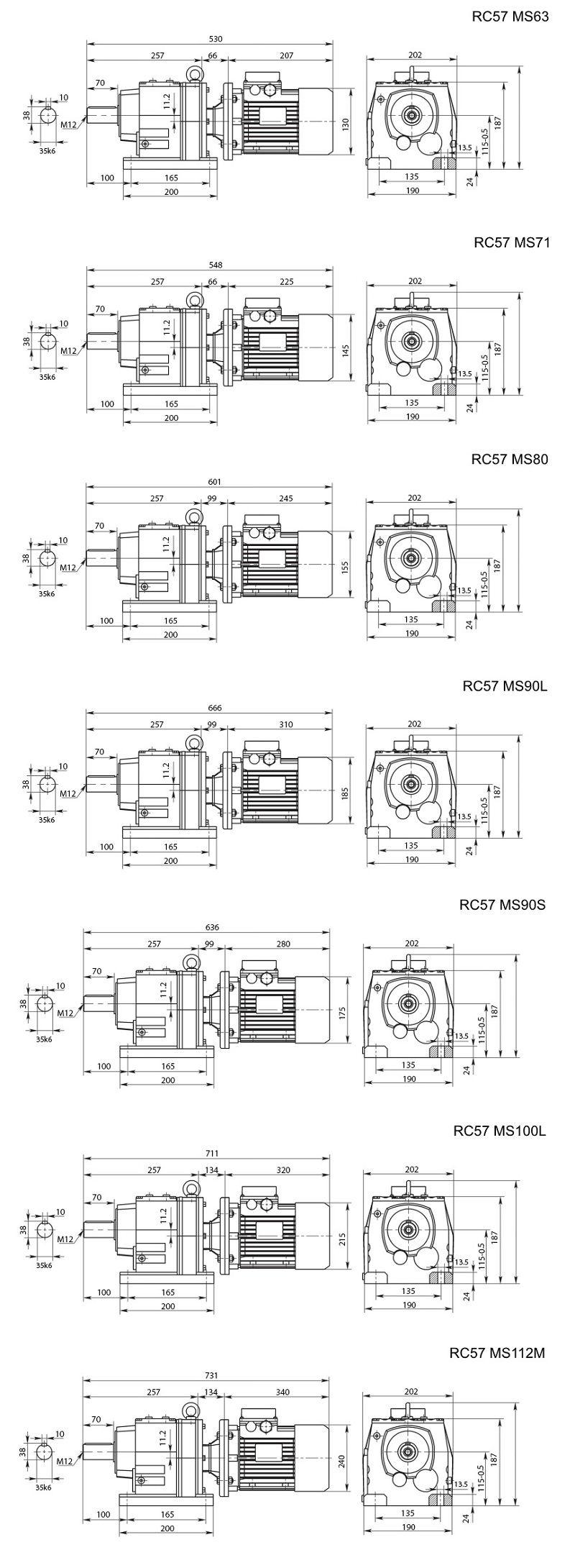 Изображение мотор-редуктора RC57 на лапах