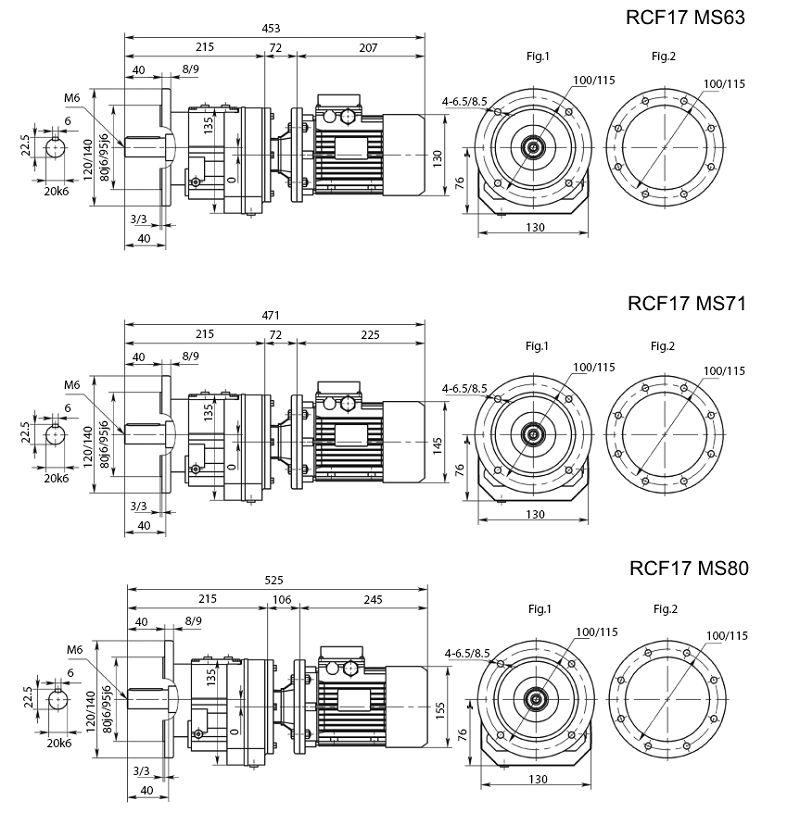 Изображение мотор-редуктора RCF17 с фланцем на выходе на лап