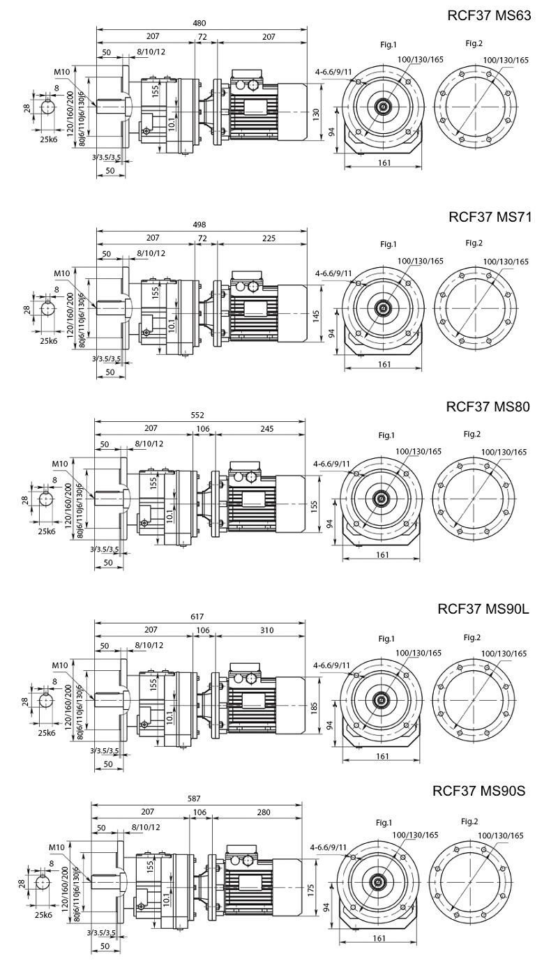 Изображение мотор-редуктора RCF37 с фланцем на выходе на лап