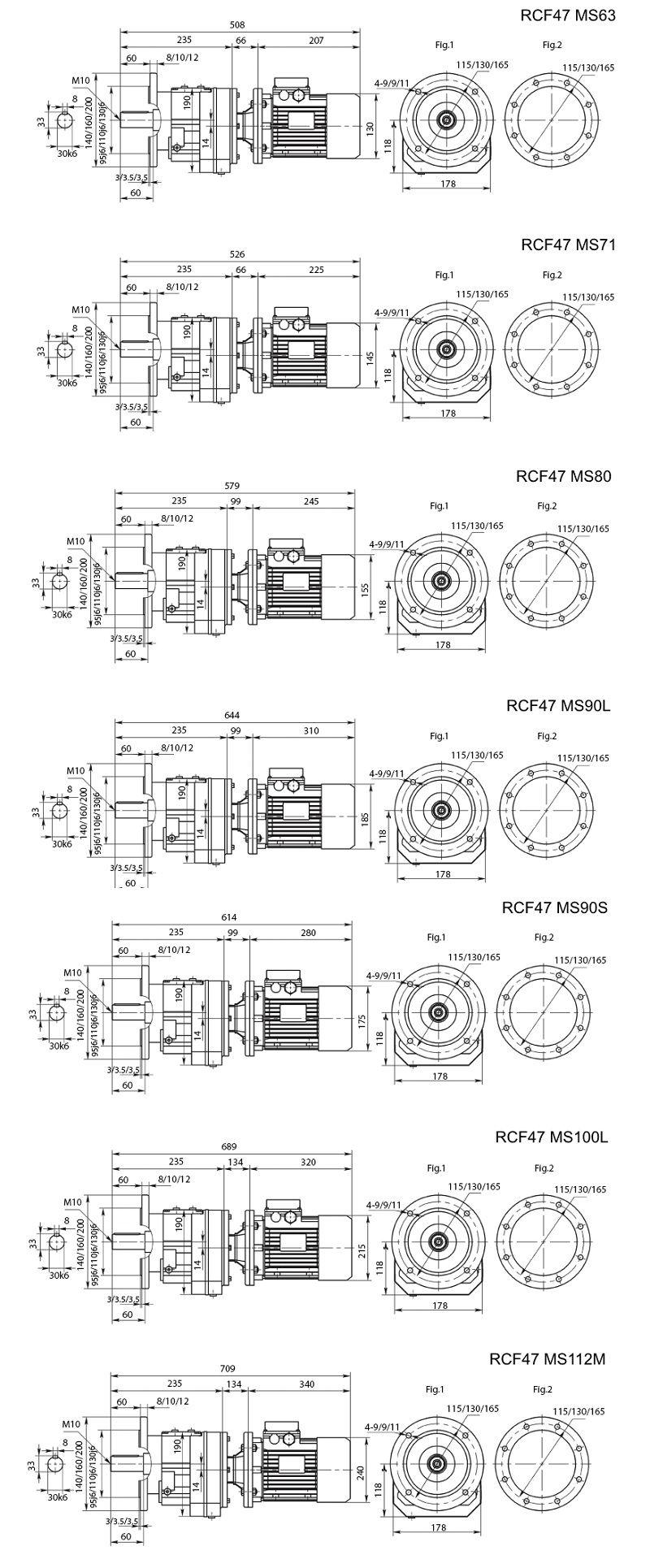 Изображение мотор-редуктора RCF47 с фланцем на выходе на лап