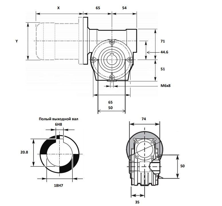Чертёж мотор-редуктора VF 44
