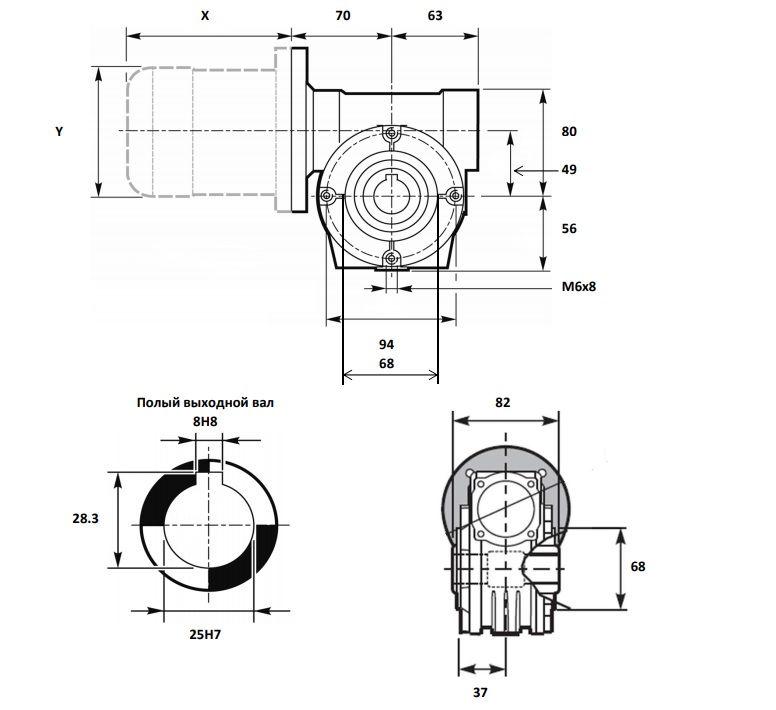 Чертёж мотор-редуктора VF 49